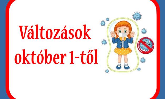 Változások október 1-től